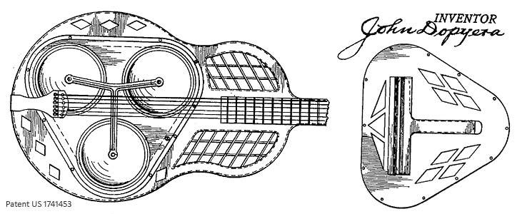 Tricone Resonator-Gitarre (Patent Dopyera 1927)