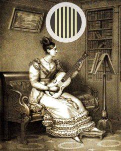 Gitarrenspielerin, Haltung der Gitarre ca. 1830